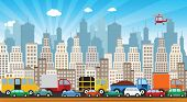 stock photo of public housing  - Vector illustration of traffic jam in the city - JPG
