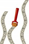 picture of payday  - Money roller rolls out bills for payday - JPG