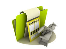 foto of storyboard  - Storyboard icon with video camera and sheet - JPG