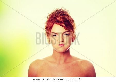 Young woman with hiccup