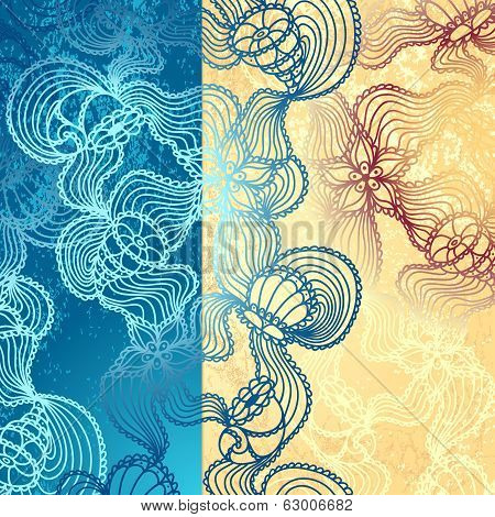 Background with  abstract marine lace in blue beige