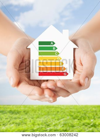 energy saving, real estate and family home concept - closeup of female hands holding white paper house with energy efficiency rating