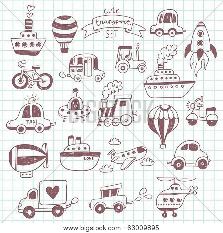 Big doodled transportation icons collection on school notebook. Travel set with retro cars, air-balloons, ships, bike, helicopter and train