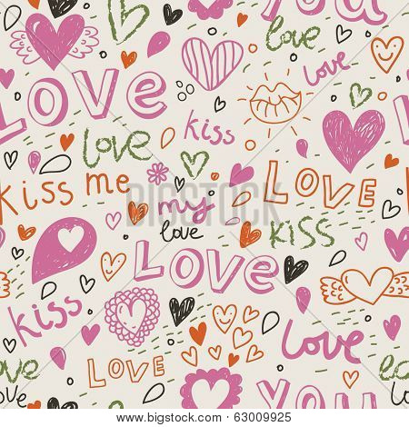 Romantic seamless pattern with hearts, lips. Valentines day decoration texture. Love concept. Wedding invitation card in vector
