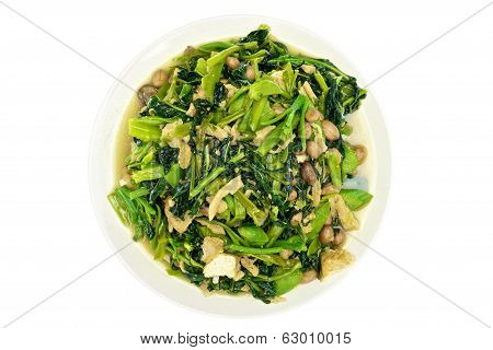 Morning Glory And Spinach Fried With Groundnut Vegetarian Food Isolated
