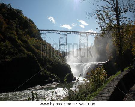waterfall and train tressel
