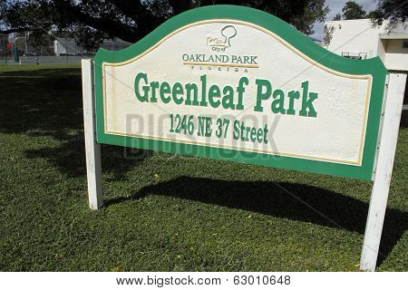 Greenleaf Park Sign