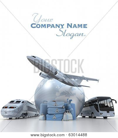 A flying plane, the Earth, a coach bus, a train and a pile of luxurious luggage