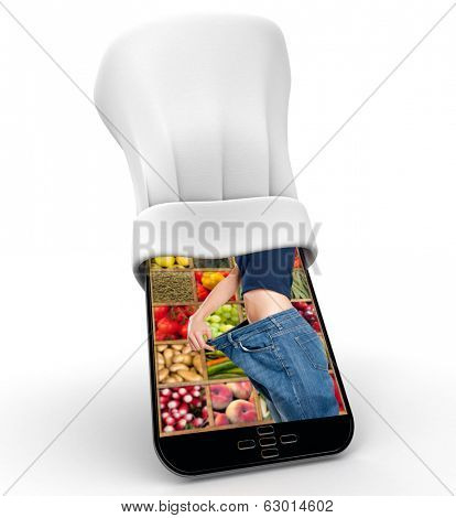 Tablet wearing a chefs toque with the picture of a sliming woman