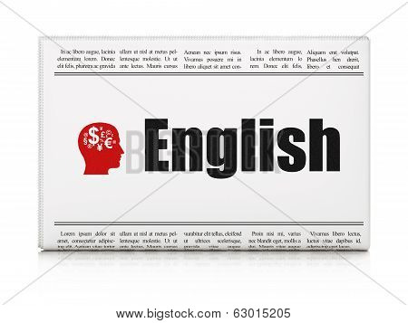 Education concept: newspaper with English and Head With Finance Symbol