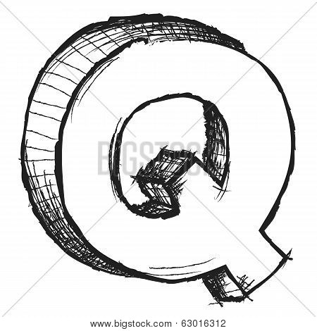 Sketchy Hand Drawn Letter Q Isolated On White