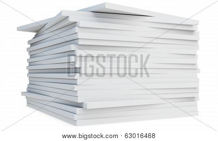 3D Pile Of  Blank Catalogs Or Magazines