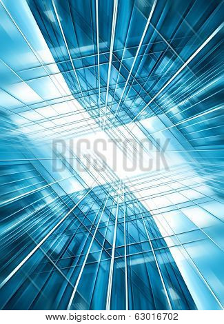 Panoramic and prospective wide angle view to steel light blue background of glass high rise building skyscraper commercial modern city of future. Business concept of successful industrial architecture