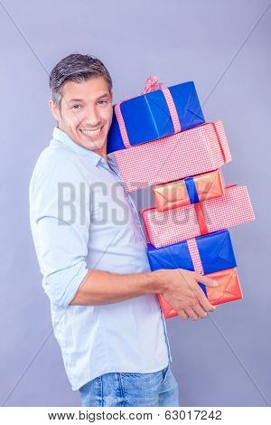 male buying some presents for family