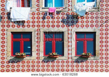 Tiled Building Facade In Lisbon