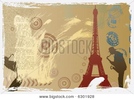 vector post card design with eiffel tower and saxophonist