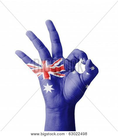 Hand Making Ok Sign, Australia Flag Painted As Symbol Of Best Quality, Positivity And Success - Isol
