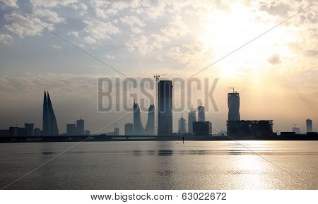 Skyline Of Manama At Sunset