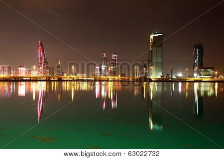 Skyline Of Manama At Night. Bahrain