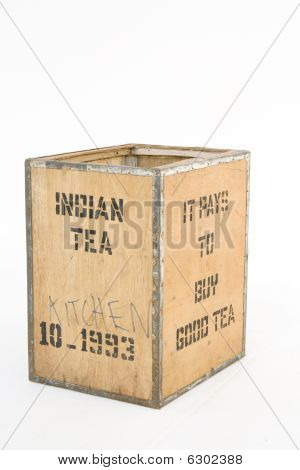 Old Tea Chest On White