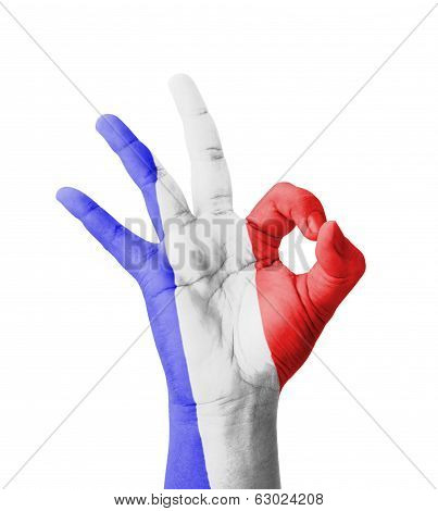 Hand Making Ok Sign, Guadeloupe Flag Painted As Symbol Of Best Quality, Positivity And Success - Iso
