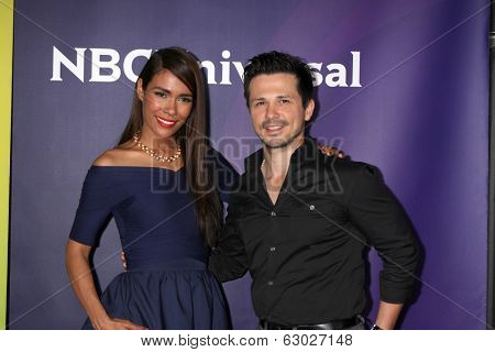 LAS VEGAS - APR 8:  Daniella Alonso, Freddy Rodriguez at the NBCUniversal Summer Press Day at Huntington Langham Hotel on April 8, 2014 in Pasadena, CA