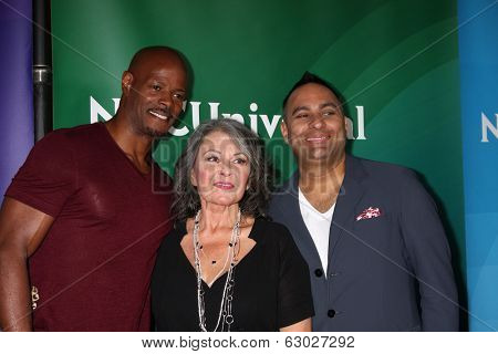 LAS VEGAS - APR 8:  Keenen Ivory Wayans, Roseanne Barr, Russell Peters at the NBCUniversal Summer Press Day at Huntington Langham Hotel on April 8, 2014 in Pasadena, CA