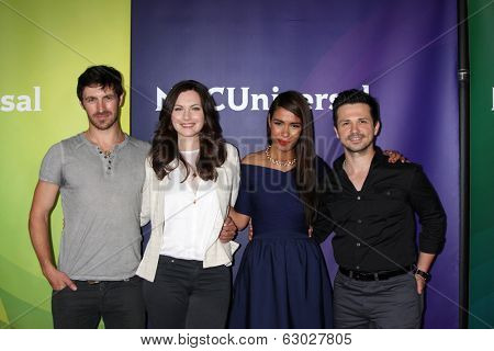 LAS VEGAS - APR 8:  Eoin Macken, Jill Flint, Daniella Alonso, Freddy Rodriguez at the NBCUniversal Summer Press Day at Huntington Langham Hotel on April 8, 2014 in Pasadena, CA