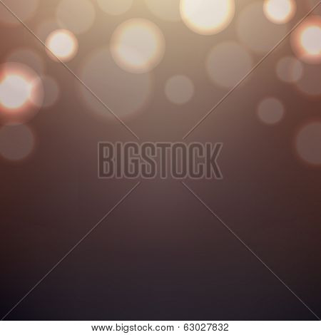 Brown Background With Bokeh, With Gradient Mesh, Vector Illustration