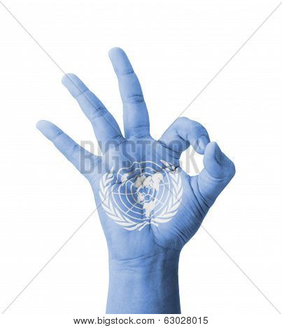 Hand Making Ok Sign, Un (united Nations) Flag Painted As Symbol Of Best Quality, Positivity And Succ