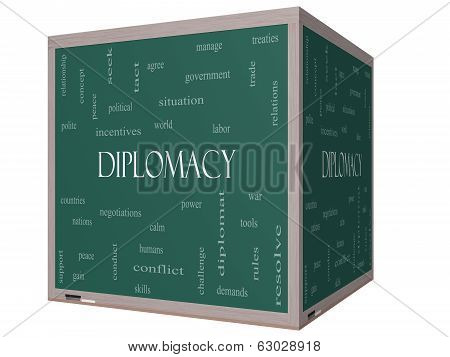Diplomacy Word Cloud Concept On A 3D Cube Blackboard