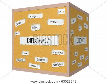 Diplomacy 3D Cube Corkboard Word Concept