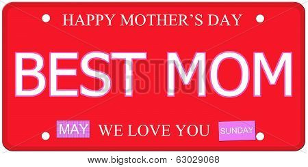 Best Mom Mother's Day Plate