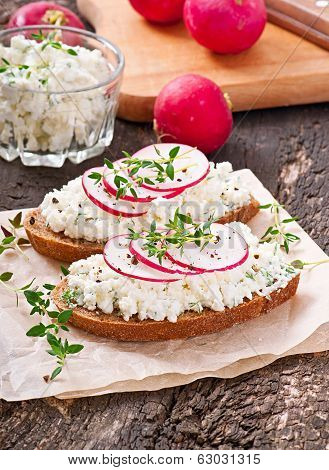 Sandwich with cottage cheese, radish, black pepper and thyme