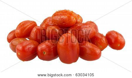 baby plum tomatoes on a white background