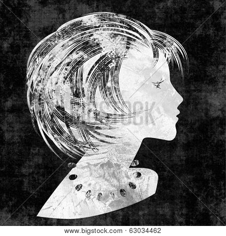 art sketched beautiful girl face with short hair and bijou in profile, in graphic on black background