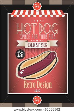Vintage HOT DOG poster template for restaurant and street food sellers. Water Drops and ink drops are easy removable.
