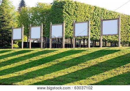 Bulletin boards in a public garden