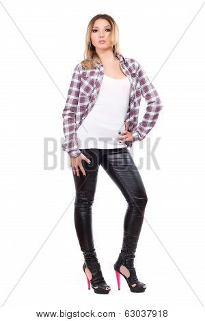Sexy Blonde Wearing Checked Shirt
