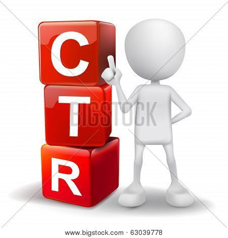 3D Illustration Of Person With Word Ctr Cubes