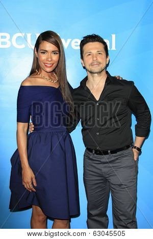 PASADENA - APR 8: Daniella Alonso, Freddy Rodriguez at the NBC/Universal's 2014 Summer Press Day held at the Langham Hotel on April 8, 2014 in Pasadena, California