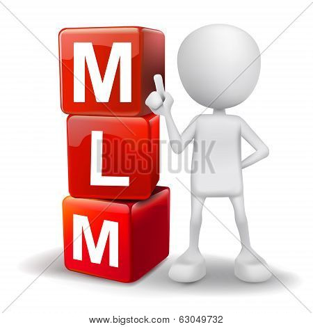 3D Illustration Of Person With Word Mlm Cubes