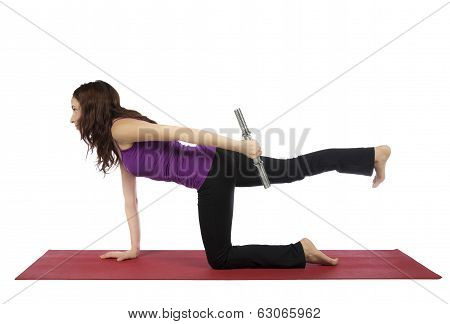 Fitness Woman Doing Kneeling Triceps Kickback