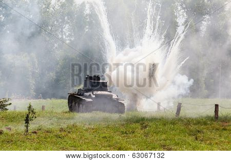 Panzer 38 (t) light tank and the explosion