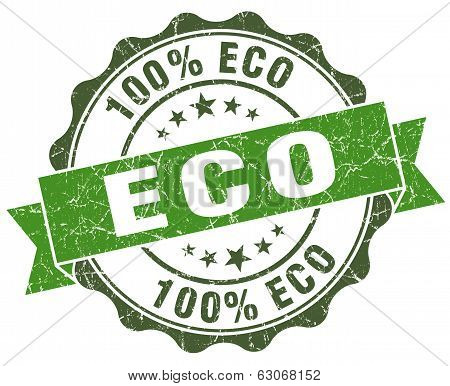 Eco Green Grunge Retro Vintage Isolated Seal