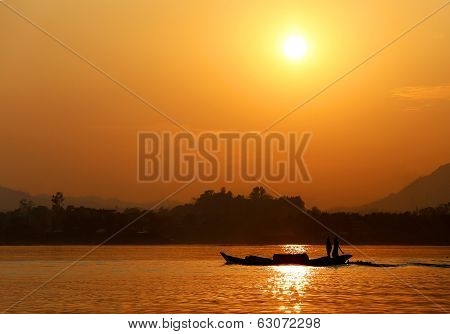 Sunset At Kaptai Lake Of Bangladesh