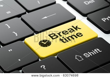 Time concept: Clock and Break Time on computer keyboard background