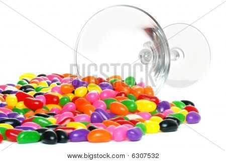 Spilled Jelly Beans From A Martini Glass