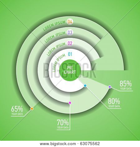 Pie chart infographic template. Vector.