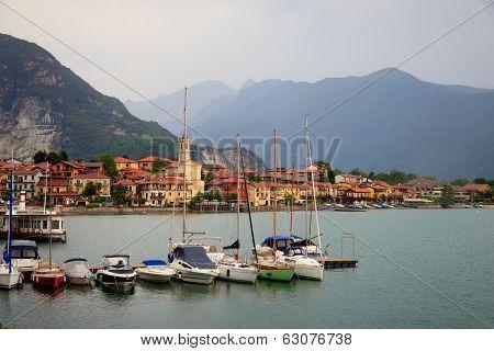 view of the coastal village at Maggiore lake